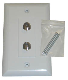 Wall Plate for RG6 (TV) Double with Nails